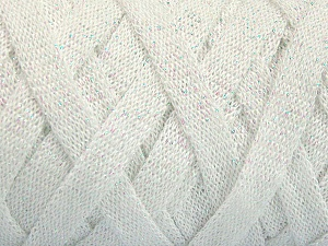 Fiber Content 70% Recycled Cotton, 30% Metallic Lurex, White, Brand Ice Yarns, Yarn Thickness 6 SuperBulky  Bulky, Roving, fnt2-50520