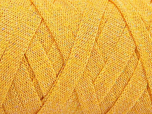 Fiber Content 70% Recycled Cotton, 30% Metallic Lurex, Yellow, Brand Ice Yarns, Yarn Thickness 6 SuperBulky  Bulky, Roving, fnt2-50523