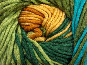 Fiber Content 100% Acrylic, Yellow, Turquoise, Brand ICE, Green Shades, Gold, Yarn Thickness 5 Bulky  Chunky, Craft, Rug, fnt2-50840