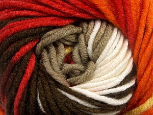 Fiber Content 100% Acrylic, White, Red, Orange, Brand ICE, Brown Shades, Yarn Thickness 5 Bulky  Chunky, Craft, Rug, fnt2-50845
