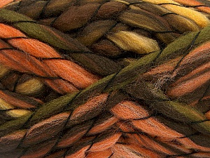 Fiber Content 50% Acrylic, 50% Wool, Orange, Brand ICE, Green, Gold, Brown Shades, Yarn Thickness 6 SuperBulky  Bulky, Roving, fnt2-52586
