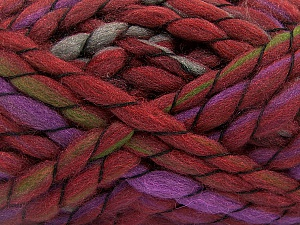 Fiber Content 50% Acrylic, 50% Wool, Lilac, Brand ICE, Green, Burgundy, Yarn Thickness 6 SuperBulky  Bulky, Roving, fnt2-52587
