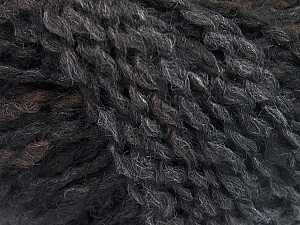 Please note that this is a self-striping yarn and self-effecting. Please see knitted sample to see the color and effect variation. Fiber Content 38% Wool, 32% Acrylic, 20% Alpaca, 10% Polyamide, Brand ICE, Grey Shades, Dark Brown, Black, Yarn Thickness 4 Medium  Worsted, Afghan, Aran, fnt2-53365