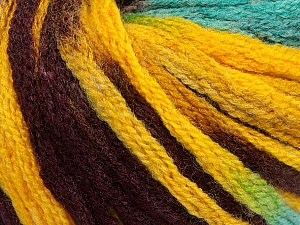 Fiber Content 50% Acrylic, 50% Wool, Yellow, Turquoise, Maroon, Brand ICE, Yarn Thickness 6 SuperBulky  Bulky, Roving, fnt2-54387