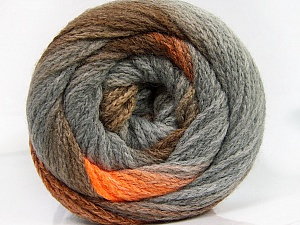 Fiber Content 90% Acrylic, 10% Polyamide, Orange, Brand Ice Yarns, Grey, Brown Shades, Yarn Thickness 4 Medium  Worsted, Afghan, Aran, fnt2-54525
