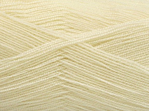 Very thin yarn. It is spinned as two threads. So you will knit as two threads. Yardage information is for only one strand. Fiber Content 100% Acrylic, Brand ICE, Cream, Yarn Thickness 1 SuperFine  Sock, Fingering, Baby, fnt2-54682