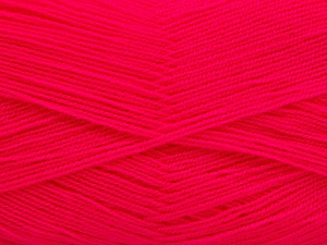 Very thin yarn. It is spinned as two threads. So you will knit as two threads. Yardage information is for only one strand. Fiber Content 100% Acrylic, Neon Pink, Brand ICE, Yarn Thickness 1 SuperFine  Sock, Fingering, Baby, fnt2-54711