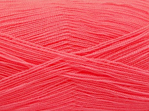 Very thin yarn. It is spinned as two threads. So you will knit as two threads. Yardage information is for only one strand. Fiber Content 100% Acrylic, Salmon, Brand ICE, Yarn Thickness 1 SuperFine  Sock, Fingering, Baby, fnt2-54714