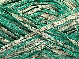 Fiber Content 82% Viscose, 18% Polyester, Brand ICE, Emerald Green, Beige, Yarn Thickness 5 Bulky  Chunky, Craft, Rug, fnt2-55034
