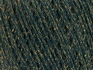 Fiber Content 50% Cotton, 30% Acrylic, 20% Metallic Lurex, Brand ICE, Gold, Dark Green, Yarn Thickness 3 Light  DK, Light, Worsted, fnt2-55294