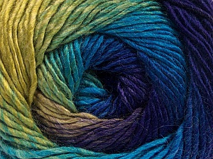 Fiber Content 50% Acrylic, 50% Wool, Turquoise, Purple, Brand ICE, Green Shades, Yarn Thickness 2 Fine  Sport, Baby, fnt2-55354