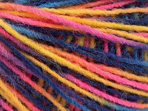 Fiber Content 100% Acrylic, Yellow, Pink, Brand ICE, Blue Shades, Yarn Thickness 3 Light  DK, Light, Worsted, fnt2-55617