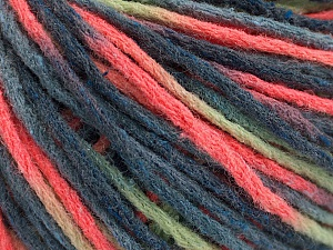 Fiber Content 50% Acrylic, 50% Wool, Neon Orange, Brand ICE, Green, Blue Shades, Yarn Thickness 4 Medium  Worsted, Afghan, Aran, fnt2-55743
