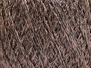 Fiber Content 85% Viscose, 25% Metallic Lurex, Brand ICE, Camel, Brown, Yarn Thickness 3 Light  DK, Light, Worsted, fnt2-57033
