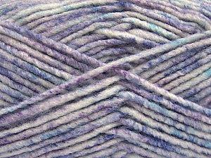 Fiber Content 70% Acrylic, 30% Wool, White, Turquoise, Lilac Shades, Brand ICE, Yarn Thickness 4 Medium  Worsted, Afghan, Aran, fnt2-57646