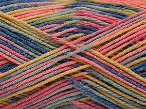 Fiber Content 100% Acrylic, Yellow, Pink, Brand ICE, Blue Shades, Yarn Thickness 2 Fine  Sport, Baby, fnt2-57935