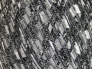 Trellis  Fiber Content 95% Polyester, 5% Lurex, White, Silver, Brand ICE, Black, Yarn Thickness 5 Bulky  Chunky, Craft, Rug, fnt2-58090