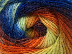 Fiber Content 70% Acrylic, 30% Wool, Yellow, Orange, Maroon, Brand ICE, Blue Shades, Yarn Thickness 3 Light  DK, Light, Worsted, fnt2-58149