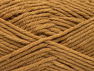 Fiber Content 72% Premium Acrylic, 3% Metallic Lurex, 25% Wool, Light Brown, Brand ICE, Gold, fnt2-58199