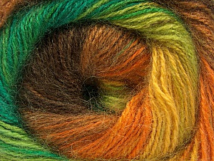 Fiber Content 50% Mohair, 50% Acrylic, Yellow, Orange, Brand ICE, Green Shades, Brown, fnt2-58365