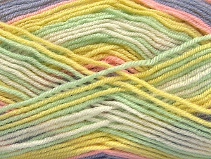 Fiber Content 75% Acrylic, 25% Wool, Yellow, White, Mint Green, Lilac, Brand ICE, fnt2-58393