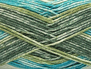 Fiber Content 50% Premium Acrylic, 50% Cotton, Turquoise, Brand ICE, Green Shades, Yarn Thickness 2 Fine  Sport, Baby, fnt2-58414