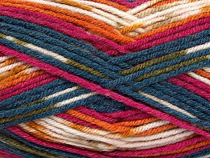 Fiber Content 75% Acrylic, 25% Wool, White, Teal, Orange, Khaki, Brand ICE, Fuchsia, fnt2-59058