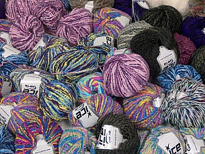 Fancy Yarns This mixed lot includes a total of 2000 gr (70.5 oz.) yarn. There is no standard for ball weight. Also disregard any information on the labels. You will get what you see in the photo. Brand ICE, fnt2-59453