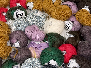 Fancy Yarns This mixed lot includes a total of 2000 gr (70.5 oz.) yarn. There is no standard for ball weight. Also disregard any information on the labels. You will get what you see in the photo. Brand ICE, fnt2-59454