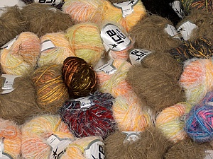 Fancy Yarns This mixed lot includes a total of 2000 gr (70.5 oz.) yarn. There is no standard for ball weight. Also disregard any information on the labels. You will get what you see in the photo. Brand ICE, fnt2-59455