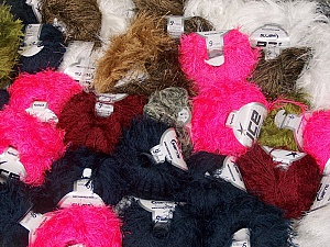 Eyelash Yarns This mixed lot includes a total of 2000 gr (70.5 oz.) yarn. There is no standard for ball weight. Also disregard any information on the labels. You will get what you see in the photo. Fiber Content 100% Polyester, Brand ICE, fnt2-59458