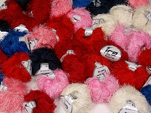 Eyelash This mixed lot includes a total of 2000 gr (70.5 oz.) yarn. There is no standard for ball weight. Also disregard any information on the labels. You will get what you see in the photo. Fiber Content 100% Polyester, Brand ICE, fnt2-59459