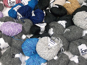 Winter Yarns This mixed lot includes a total of 2000 gr (70.5 oz.) yarn. There is no standard for ball weight. Also disregard any information on the labels. You will get what you see in the photo. Brand ICE, fnt2-59462