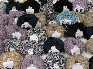 Fancy Yarns This mixed lot includes a total of 2000 gr (70.5 oz.) yarn. There is no standard for ball weight. Also disregard any information on the labels. You will get what you see in the photo. Brand ICE, fnt2-59472