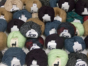 Winter Yarns This mixed lot includes a total of 2000 gr (70.5 oz.) yarn. There is no standard for ball weight. Also disregard any information on the labels. You will get what you see in the photo. Brand ICE, fnt2-59473