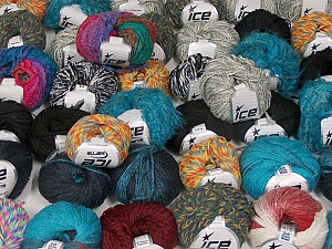 Fancy Yarns This mixed lot includes a total of 2000 gr (70.5 oz.) yarn. There is no standard for ball weight. Also disregard any information on the labels. You will get what you see in the photo. Brand ICE, fnt2-59474