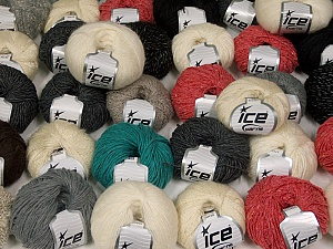 Winter Yarns This mixed lot includes a total of 2000 gr (70.5 oz.) yarn. There is no standard for ball weight. Also disregard any information on the labels. You will get what you see in the photo. Brand ICE, fnt2-59475