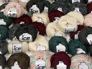 Fancy Yarns This mixed lot includes a total of 2000 gr (70.5 oz.) yarn. There is no standard for ball weight. Also disregard any information on the labels. You will get what you see in the photo. Brand ICE, fnt2-59476