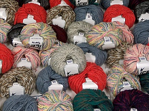 Fancy Yarns This mixed lot includes a total of 2000 gr (70.5 oz.) yarn. There is no standard for ball weight. Also disregard any information on the labels. You will get what you see in the photo. Brand ICE, fnt2-59478