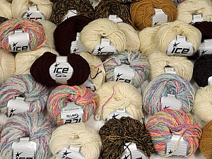 Winter Yarns This mixed lot includes a total of 2000 gr (70.5 oz.) yarn. There is no standard for ball weight. Also disregard any information on the labels. You will get what you see in the photo. Brand ICE, fnt2-59480