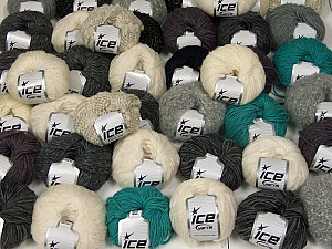 Winter Yarns This mixed lot includes a total of 2000 gr (70.5 oz.) yarn. There is no standard for ball weight. Also disregard any information on the labels. You will get what you see in the photo. Brand ICE, fnt2-59481