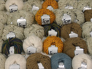 Winter Yarns This mixed lot includes a total of 2000 gr (70.5 oz.) yarn. There is no standard for ball weight. Also disregard any information on the labels. You will get what you see in the photo. Brand ICE, fnt2-59484