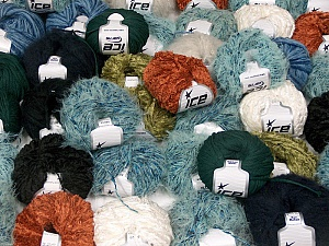 Winter Yarns This mixed lot includes a total of 2000 gr (70.5 oz.) yarn. There is no standard for ball weight. Also disregard any information on the labels. You will get what you see in the photo. Brand ICE, fnt2-59504