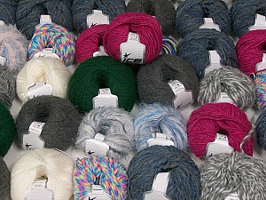 Winter Yarns This mixed lot includes a total of 2000 gr (70.5 oz.) yarn. There is no standard for ball weight. Also disregard any information on the labels. You will get what you see in the photo. Brand ICE, fnt2-59505