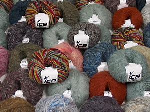 Winter Yarns This mixed lot includes a total of 2000 gr (70.5 oz.) yarn. There is no standard for ball weight. Also disregard any information on the labels. You will get what you see in the photo. Brand ICE, fnt2-59507