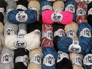 Summer Yarns This mixed lot includes a total of 2000 gr (70.5 oz.) yarn. There is no standard for ball weight. Also disregard any information on the labels. You will get what you see in the photo. Brand ICE, fnt2-59510