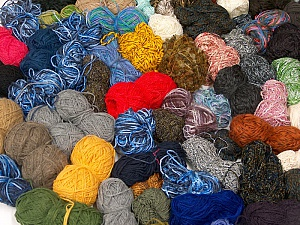 Leftover Yarns This mixed lot includes unlabeled leftover yarns. There is no standard for fiber content and ball weight. The total weight is 2000 gr (70.5 oz.). You will get what you see in the photo. Brand ICE, fnt2-59559