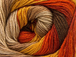Fiber Content 70% Acrylic, 30% Merino Wool, Orange, Brand ICE, Gold, Camel, Brown Shades, fnt2-59772