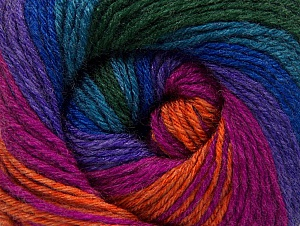 Fiber Content 70% Acrylic, 30% Merino Wool, Turquoise, Purple, Orange, Brand ICE, Green, Fuchsia, fnt2-59779