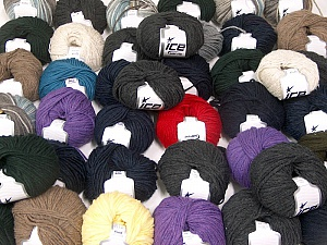 Winter Yarns This mixed lot includes a total of 2000 gr (70.5 oz.) yarn. There is no standard for ball weight. Also disregard any information on the labels. You will get what you see in the photo. Brand ICE, fnt2-59865